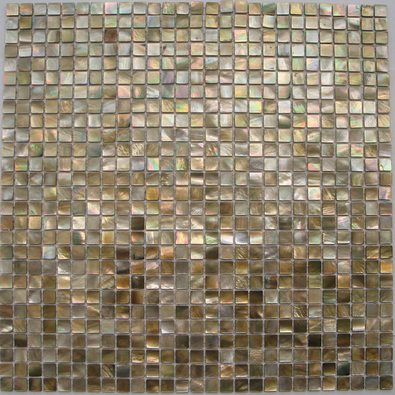 "Brown Mother of Pearl - Penguin Natural Shell Mosaic Sheet 10mm - 3/8"", 1 tile"
